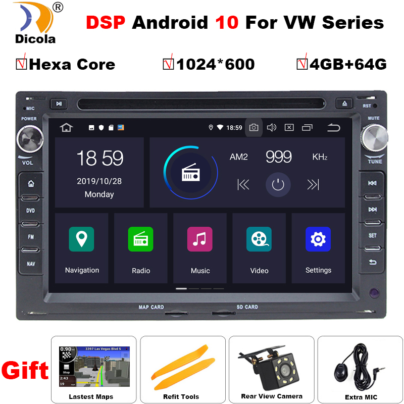 PX6 Hexa Core DSP <font><b>7</b></font>'' 2din IPS Android 10 car dvd player gps navigator for <font><b>VW</b></font> <font><b>Golf</b></font> 4 DVD GPS Sharan T4 Passat B5 car radio audio image