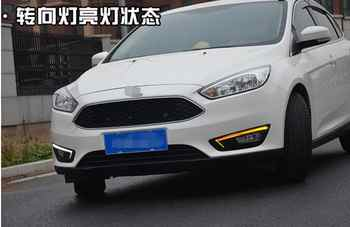 For Ford Focus 3 mk3 2015 2016 2017 12V LED Car DRL daytime running light with fog lamp hole with turn signal style relay