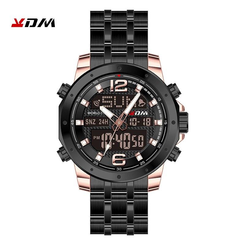 Kol Saati часы для мужчин двойной дисплей reloj hombre кварцевые цифровые Relogio Masculino Нержавеющая сталь ремешок Сплав спортивный Montre Homme - 4