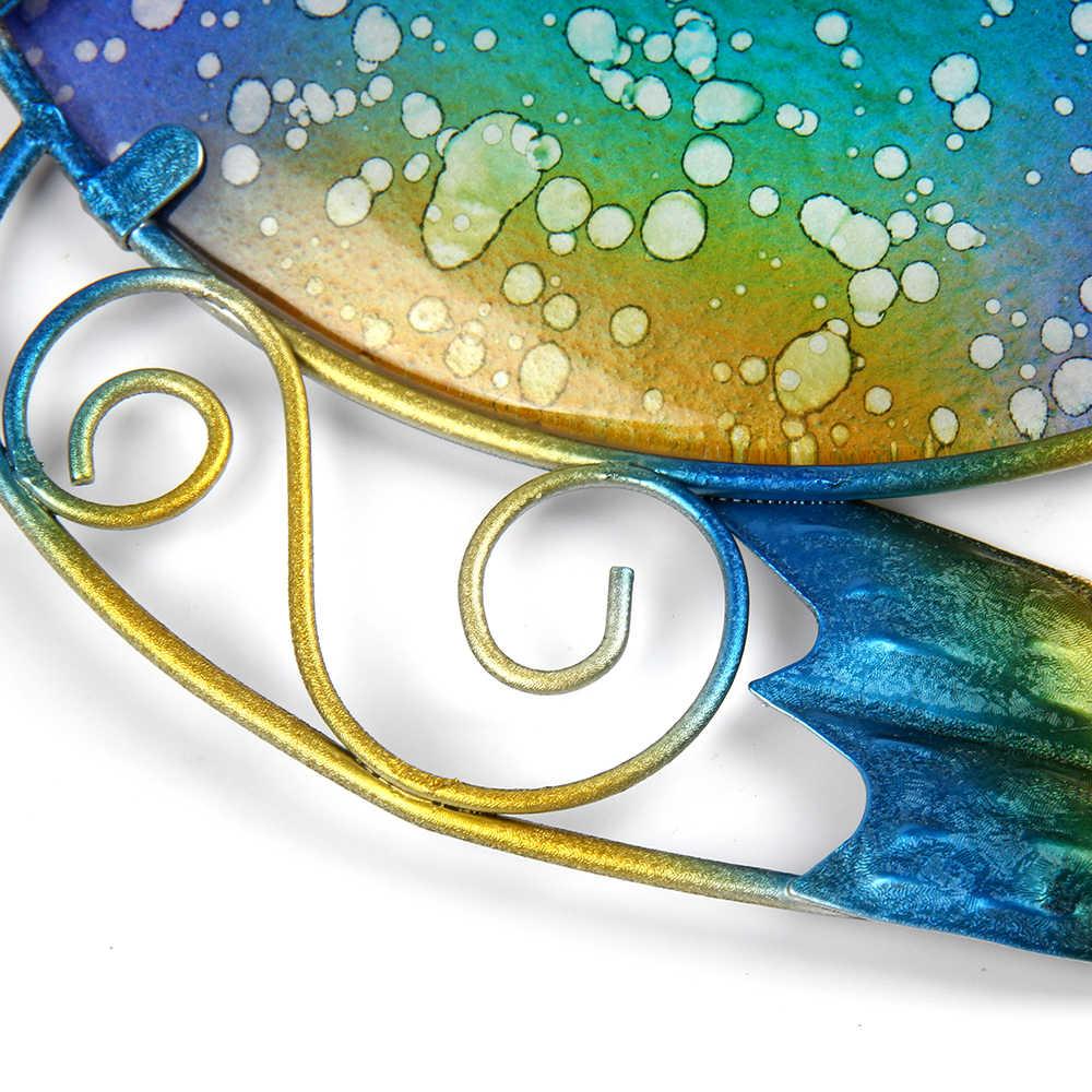 Liffy metalowa sowa dekoracja ścienna z niebieskim malowanie na szkle do dekoracji ogrodu na zewnątrz figurki zwierząt i Scuptures na podwórku