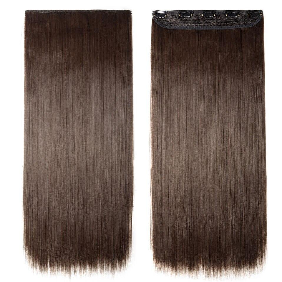 S-noilite, накладные волосы на заколках, черный, коричневый, натуральные, прямые, 58-76 см, длинные, высокая температура, синтетические волосы для наращивания, шиньон - Цвет: medium brown