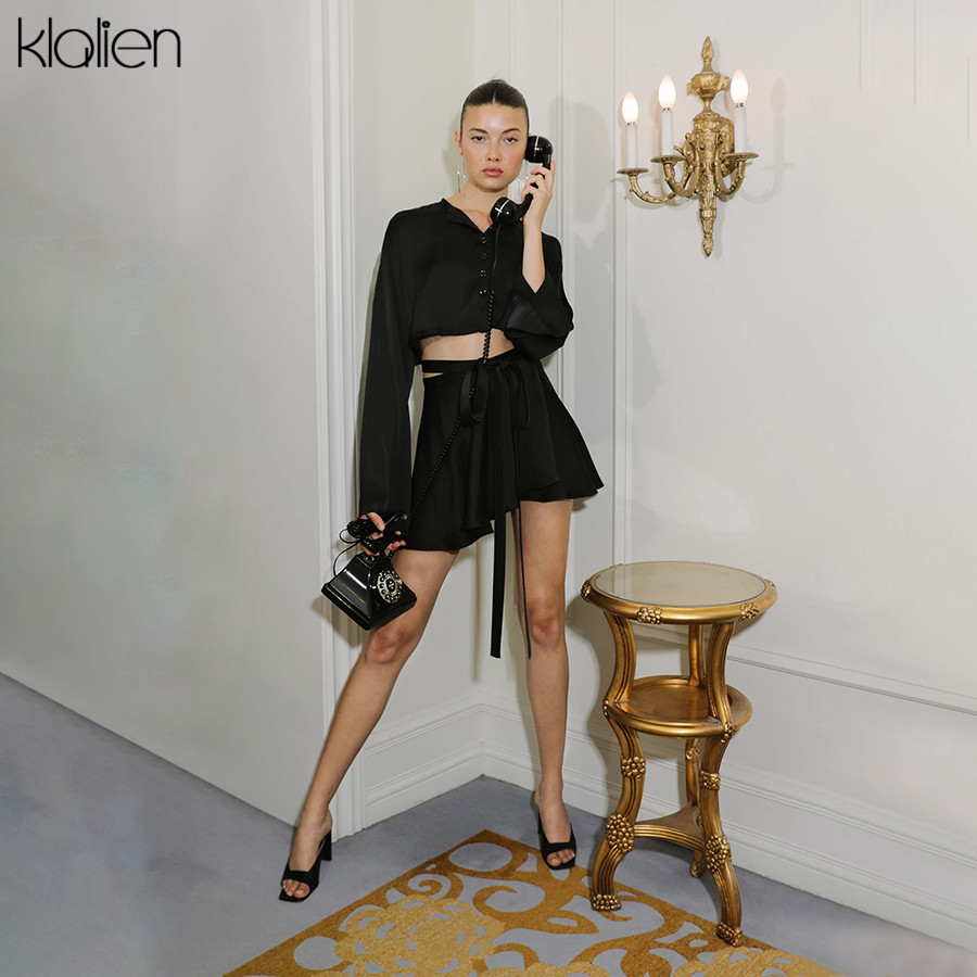 KLALIEN Long Flare Sleeve Single Breasted Blouse + Bandage Lace-up Pleated Skirt Ladies 2020 Spring Fashion Women 2 Pieces Sets