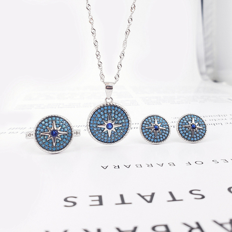 S925 Sterling Silver Turkish Style Zircon Jewelry Set for Women Female Fashion Gemstone Fine Jewelry Sets