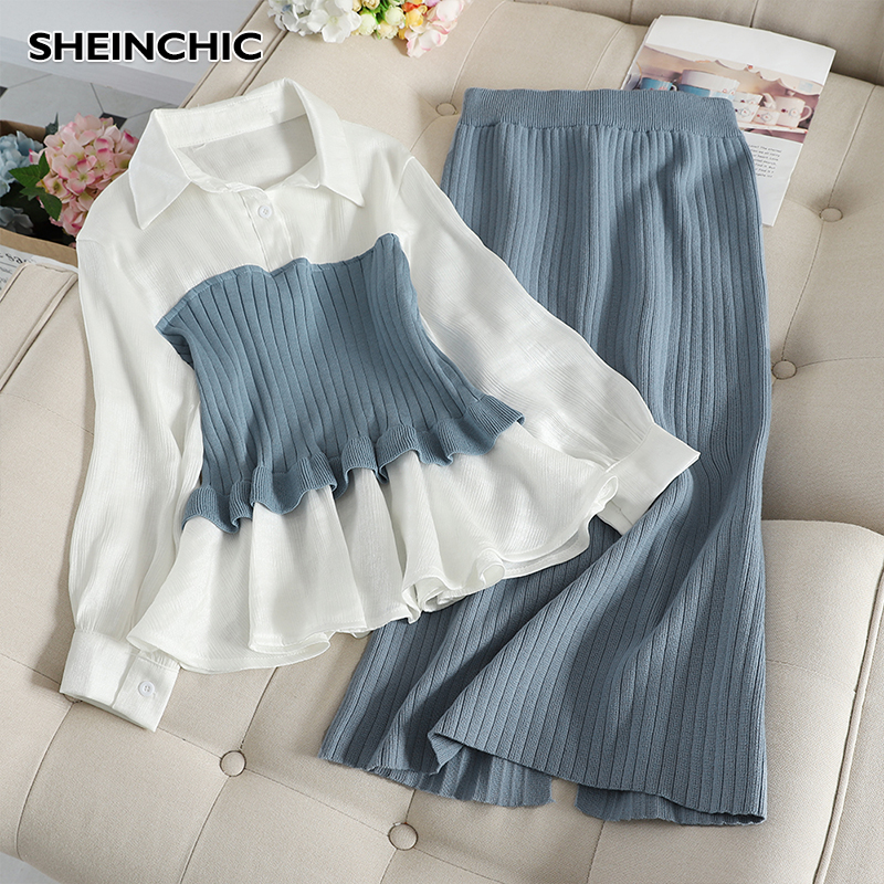 Autumn Winter 2019 Women 2 Piece Set Suit Elegant Long Sleeve Patchwork Blouse Tops+Knitted Skirt Black/Blue Two Piece Set