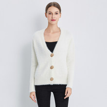 Autumn Women Knitted V Neck Single Breasted Sweater Gold Shiny Button Casual Female Cardigans Short Soft Warm Knitwear(China)