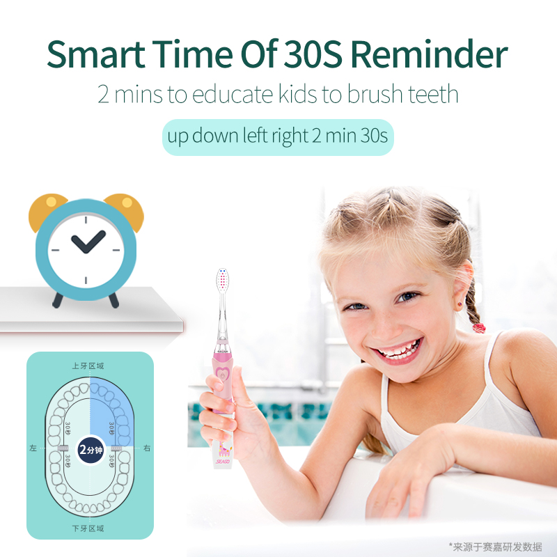 Seago Children's Electric Toothbrush LED Light Smart Reminder Replacement Nozzles Battery Supply Sonic Toothbrush for 3 Years+