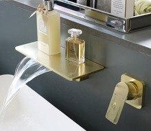 Grifos de latón macizo para lavabo grifo mezclador de fregadero, montado en la pared, agua caliente y fría, Oro pulido