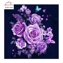 Rosa rosa rosa rosa rosado flores kits de ponto cruz resina diamante mosaico decoração da sua casa