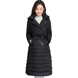 Image 1 - 2020 skręcić w dół kołnierz kurtka zimowa kobiety wyściełane piersi przyciski grube panie Casual długa Parka znosić kobiet jednokolorowy ciepły płaszcz