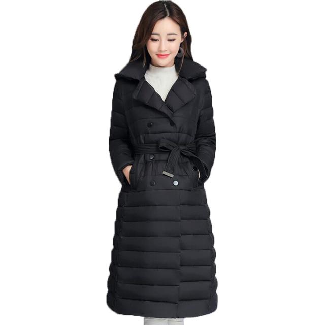 2020 skręcić w dół kołnierz kurtka zimowa kobiety wyściełane piersi przyciski grube panie Casual długa Parka znosić kobiet jednokolorowy ciepły płaszcz