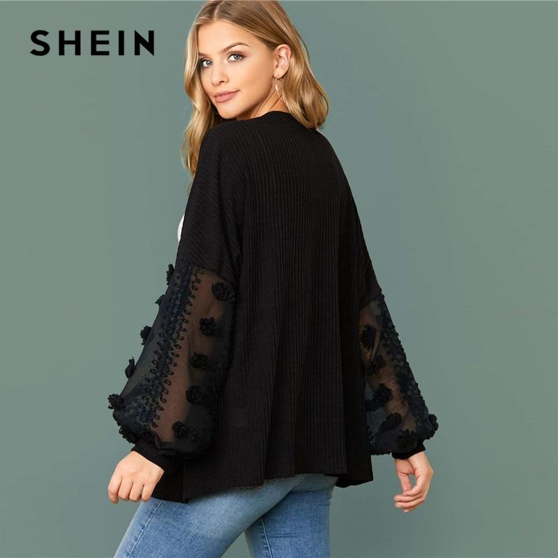 SHEIN Black Swiss Dot Mesh Lantern Sleeve Rib-knit Coat Oversized Top Women 2020 Autumn Office Lady Solid Casual Outwear Coats 2