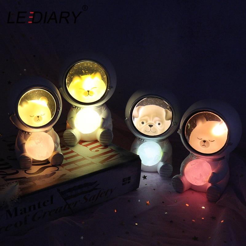 LEDIARY Animal Astronaut Night Light Cat Bear Ornaments Luminaria Animal Unicorn Eternal Flower Table Lamp Resin Decor Crafts
