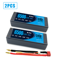 цена на 2PCS DXF RC battery Lipo 2S 7.4V 6500mah 100C  200C 4.0mm Hardcase For  Slash 4X4 Car