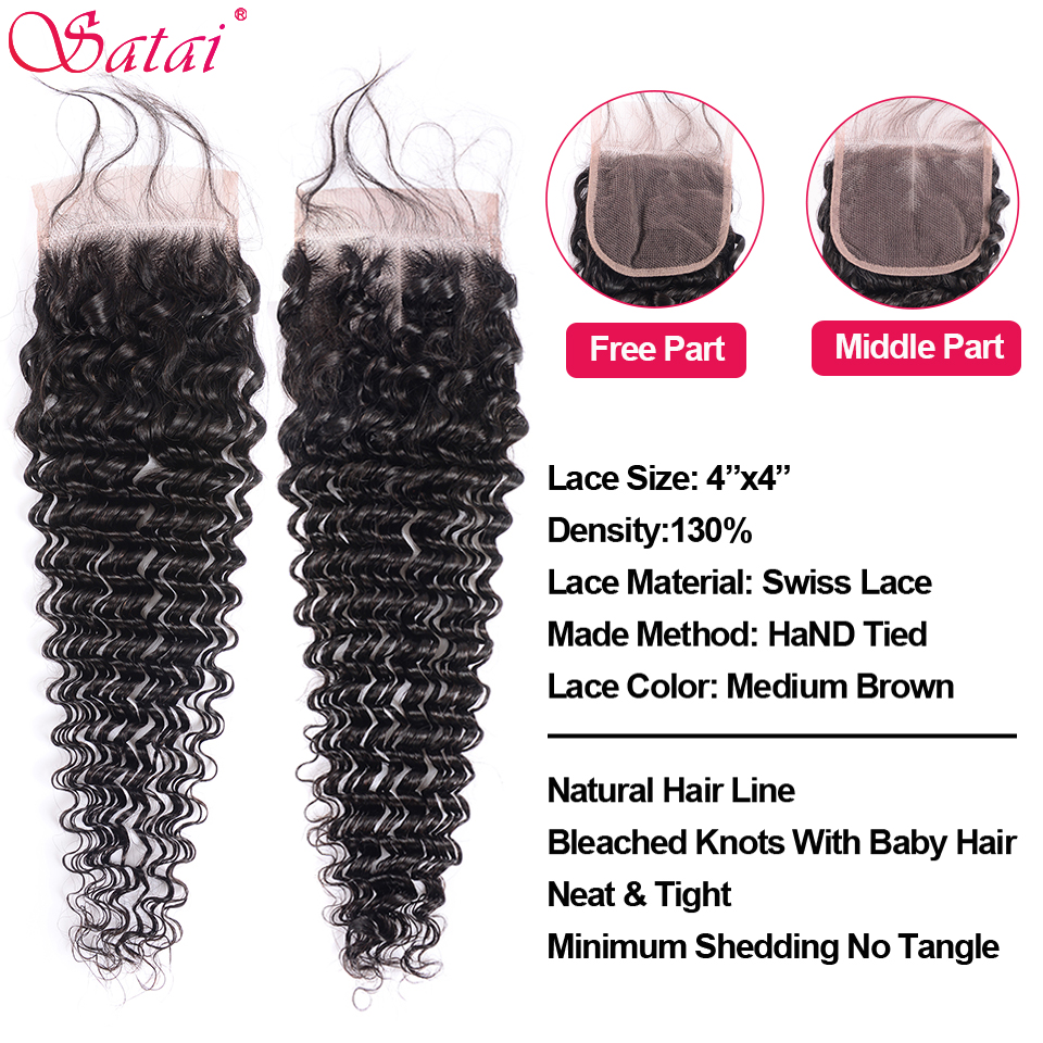 Satai Deep Wave 4 Bundles With Closure 100% Human Hair Bundles with Closure Brazilian Hair Weave Bundles Non-Remy Hair Extension