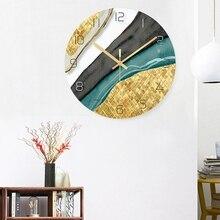 Скандинавские декоративные мраморные печатные настенные часы бесшумные кварцевые круглые стеклянные подвесные часы Современный дизайн разноцветный домашний декор
