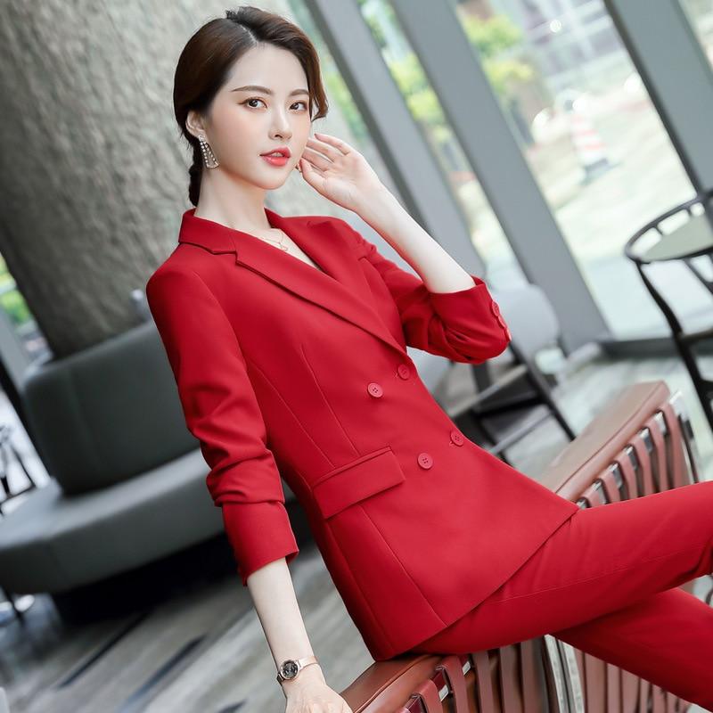 High quality fabric professional women's pants suit feminine 2020 Casual elegant ladies blazer jacket Two-piece slim trousers
