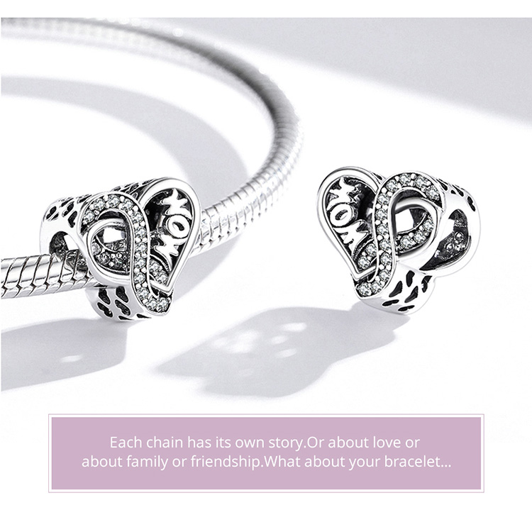 925 Sterling Silver Infinite Love Charm Mom Blue Glass Bead Rose Cross for Original Bracelet Bangle Women Fashion Jewelry
