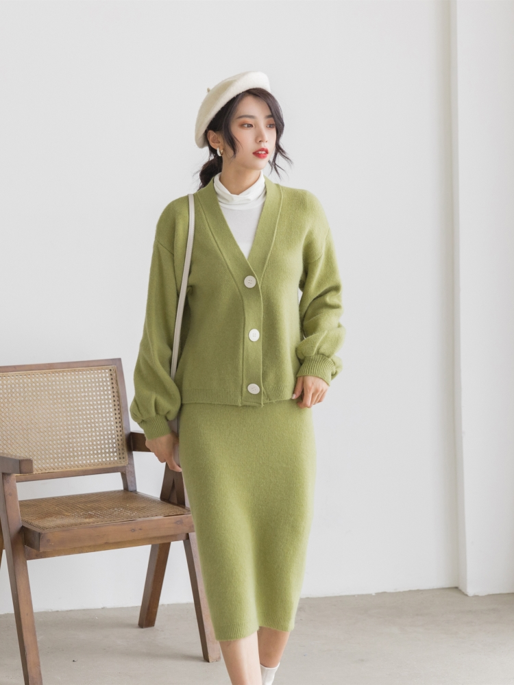 Hae198d408cc0479dae06dd02e1dae81ac - Autumn / Winter V-Neck Cardigan and Solid Midi Pencil Skirt