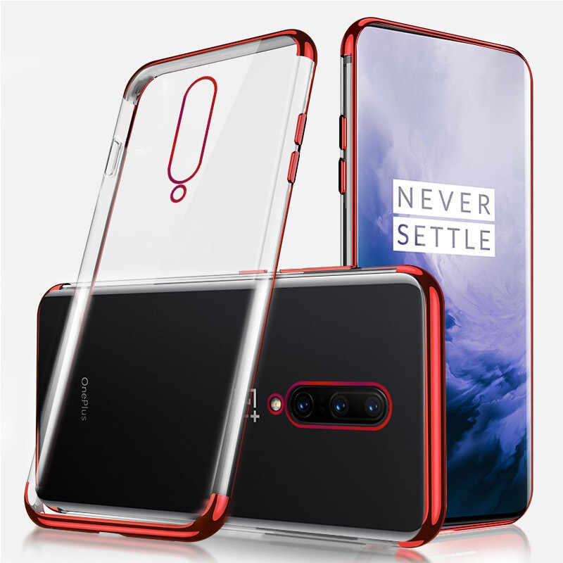 Transparante Plating Bumper Silicone Telefoon Case Voor Oneplus 8 7 Pro Soft Tpu Cove Ultra Dunne Beschermende Capa Een Plus 8 Pro 1 + 8 7
