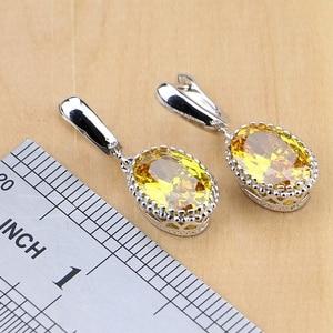 Image 4 - 925 Silver Jewelry Yellow Cubic Zirconia Jewelry Sets for Women Earrings/Pendant/Necklace/Rings/Bracelet