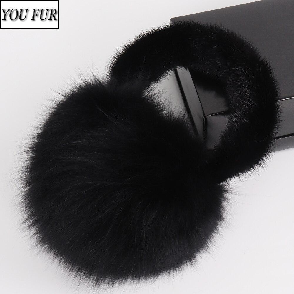 2020 New Lady Natural Real Fox Fur Earmuffs Winter Women Warm Plush Big Fox Fur EarMuff Russian Fluffy With Real Mink Fur Earlap