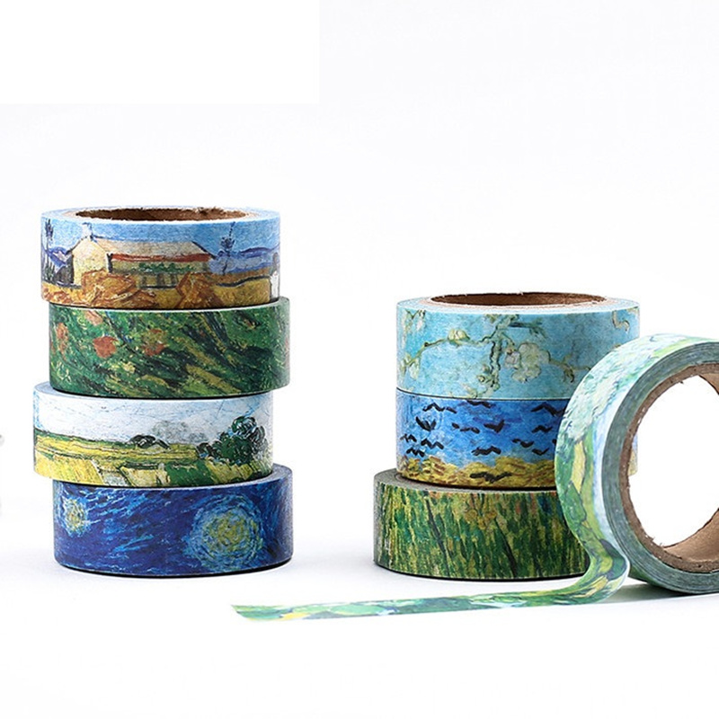Van Goah Painting Paper Washi Tape 15mm Starry Night Irises Apricot Adhesive Masking Tapes School Decoration Stickers 6186
