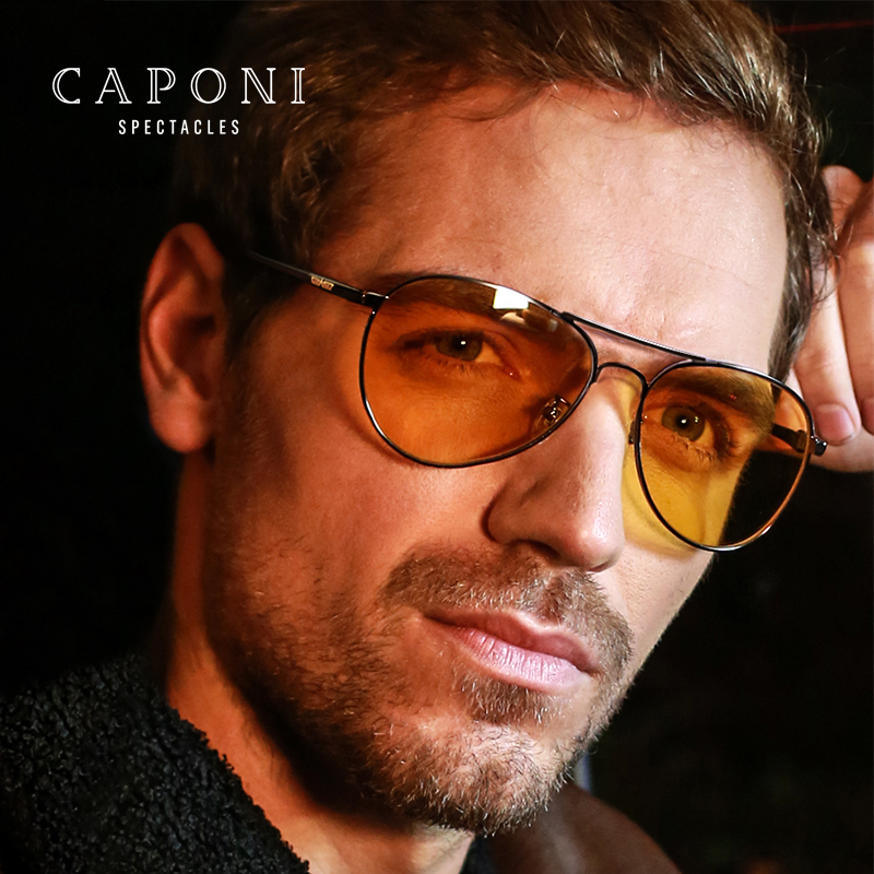 CAPONI Classic Sunglasses For Men Photochromic Day And Night Driving Yellow Glasses Polit Fishing Men's Sun Glasses BSYS3104 image