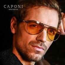 CAPONI Klassische Sonnenbrille Für Männer Photochrome Tag Und Nacht Fahren Gelb Gläser Polit Angeln männer Sonnenbrille BSYS3104