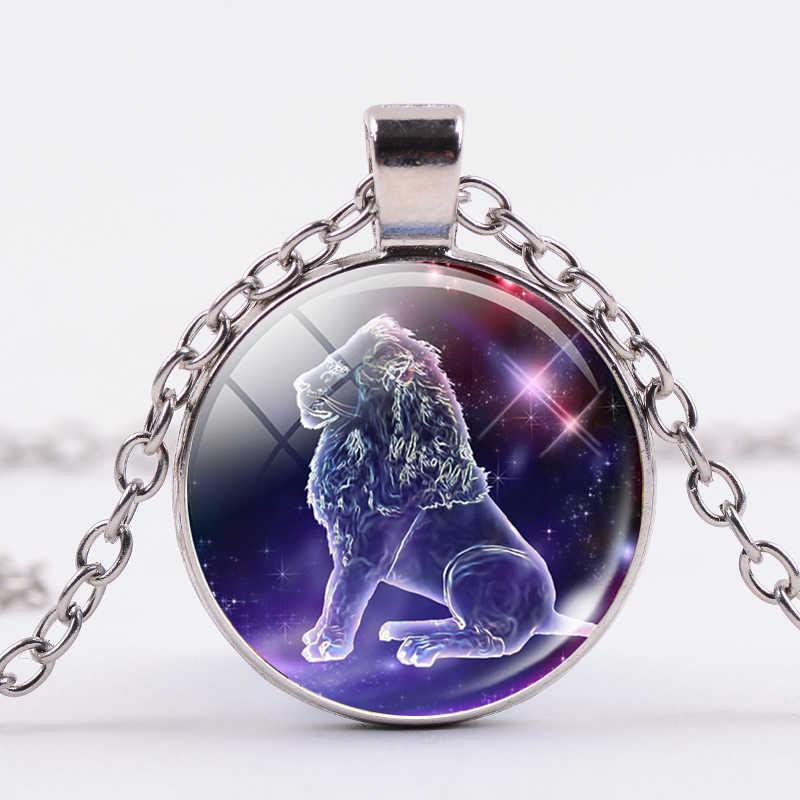 SONGDA 12 干支ネックレスレオ 12 星座銀河デザイン星座占星術クリスタル女性男性家族ギフト