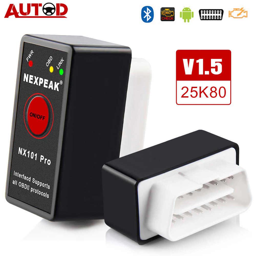 V1.5 ELM327 OBD2 tarayıcı Bluetooth pic18f25k80 OBD 2 Mini Autoscanner ELM 327 araç teşhis aracı otomatik tarayıcı