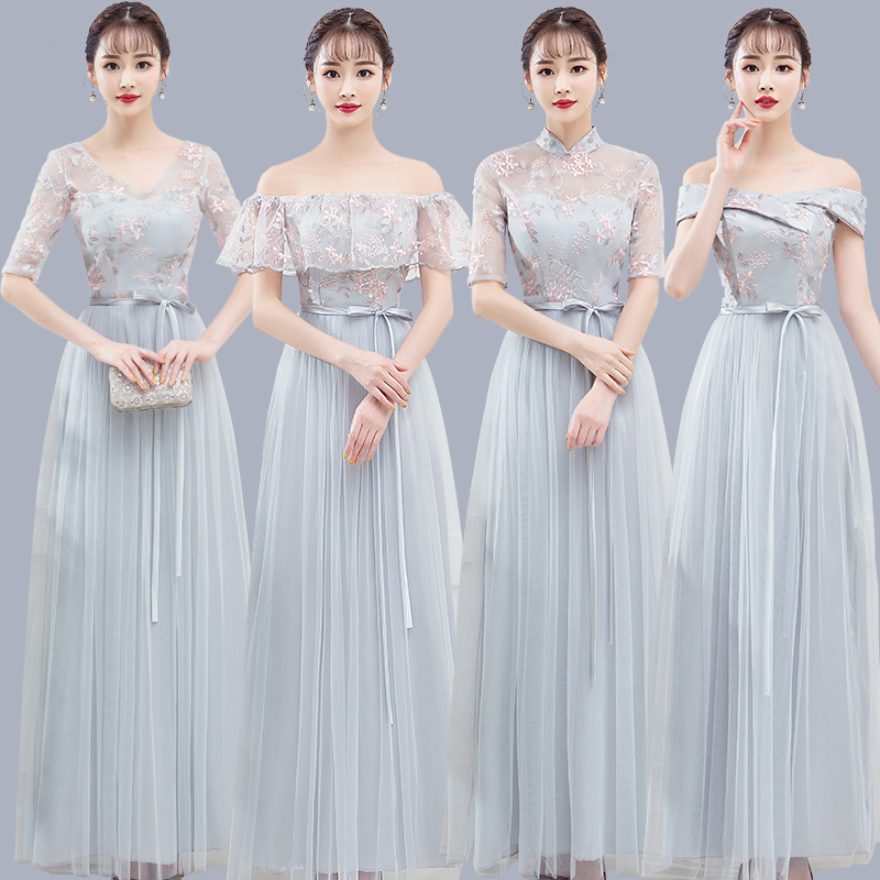 Gray Junior Bridesmaid Dress Elegant Formal Wedding Party Host Long Sister Club Party Dress Long Floor Length Sexy Prom Vistido