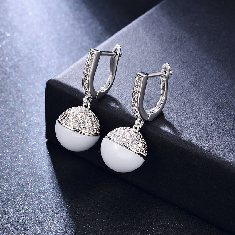 MAIKALE Classic Ball Ceramic Drop Earrings Copper Plated Gold Korean Earrings For Women Fashion Jewelry For Women Gifts
