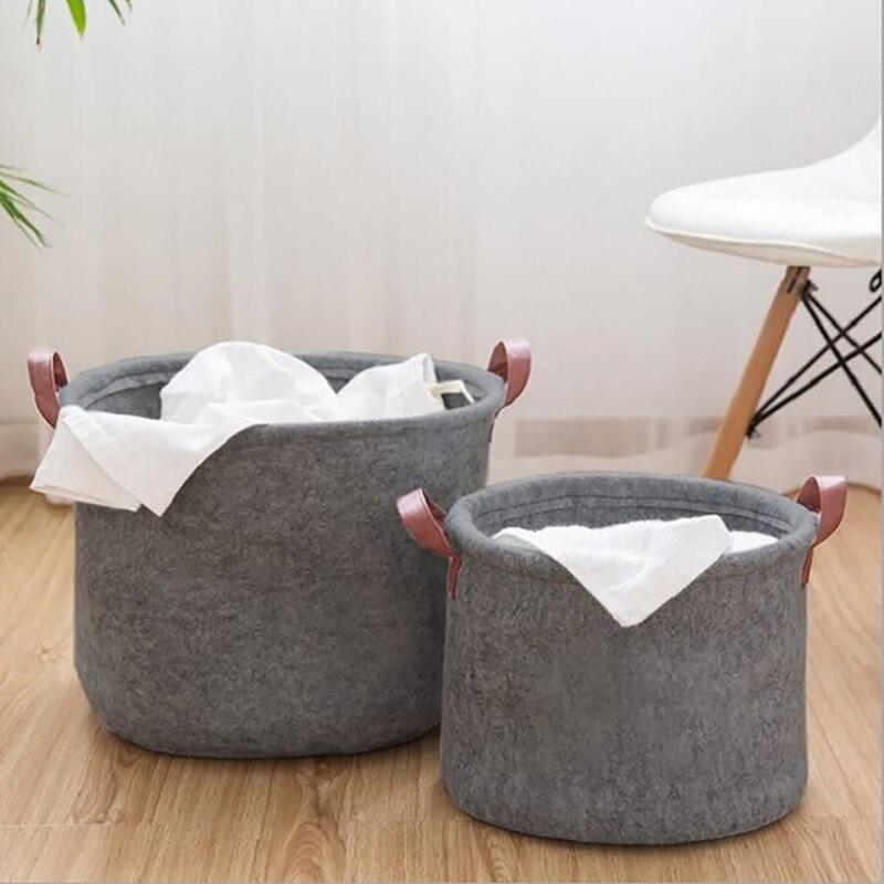 Taşınabilir keçe kullanışlı kirli giysi saklama sepeti banyo çamaşır sepeti çevre oturma odası çocuk oyuncak çamaşır sepetleri