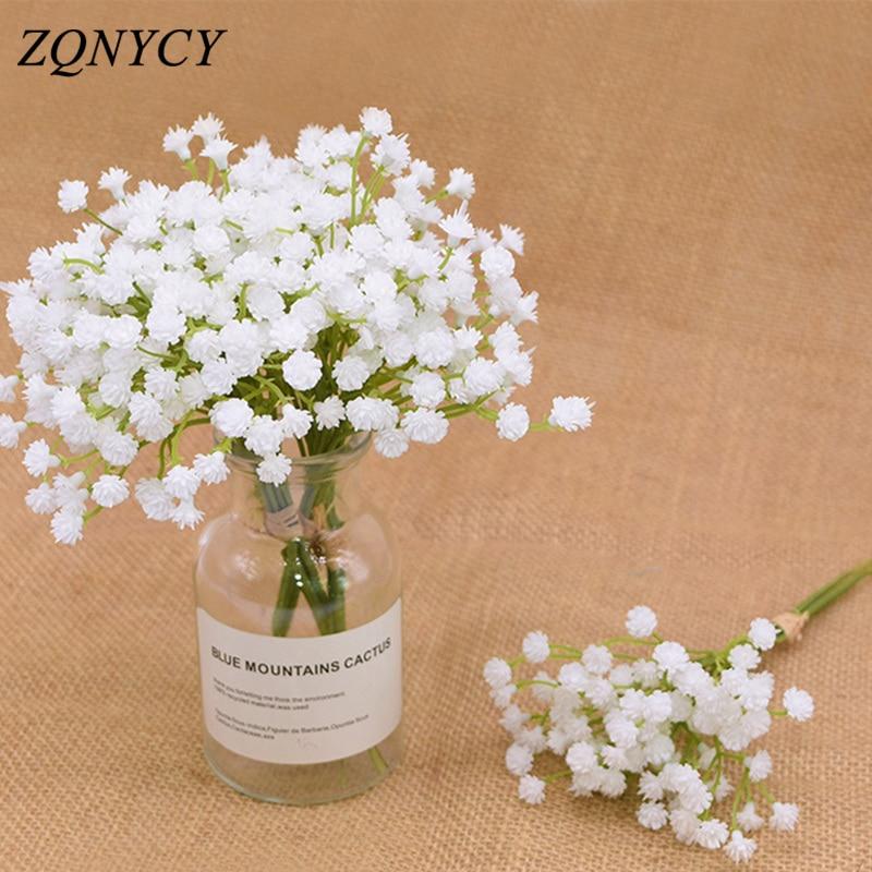 20cm White Gypsophila Artificial Flowers Wedding DIY Bouquet Decoration Arrangement Plastic Babies Breath Fake Flower Home Decor|Artificial & Dried Flowers|   - AliExpress