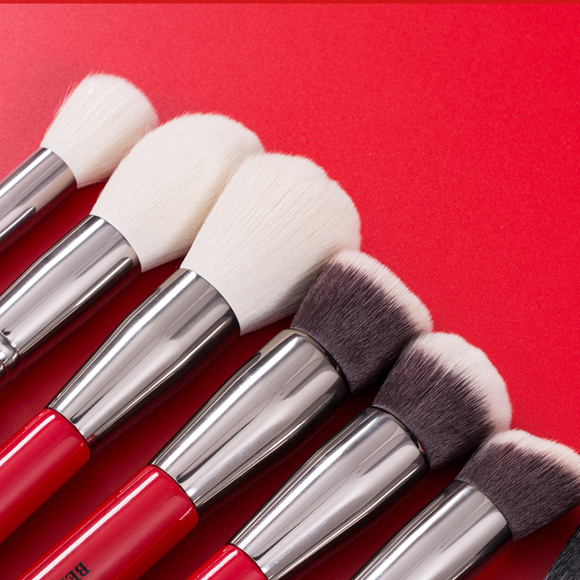 BEILI Red 30pcs Professional Makeup Brushes Set Natural Hair Powder Foundation Blush Eye shadow eyebrow liner Make up Brush Tool 3