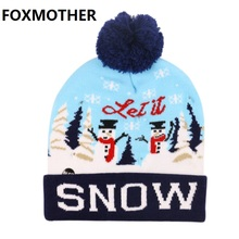 FOXMOTHER 2019 New Fashion Letter Snow Print Women Men Warm Knit LED Hat Christmas Gift Outdoor Hat with Pom Pom Winter Knit Hat недорго, оригинальная цена