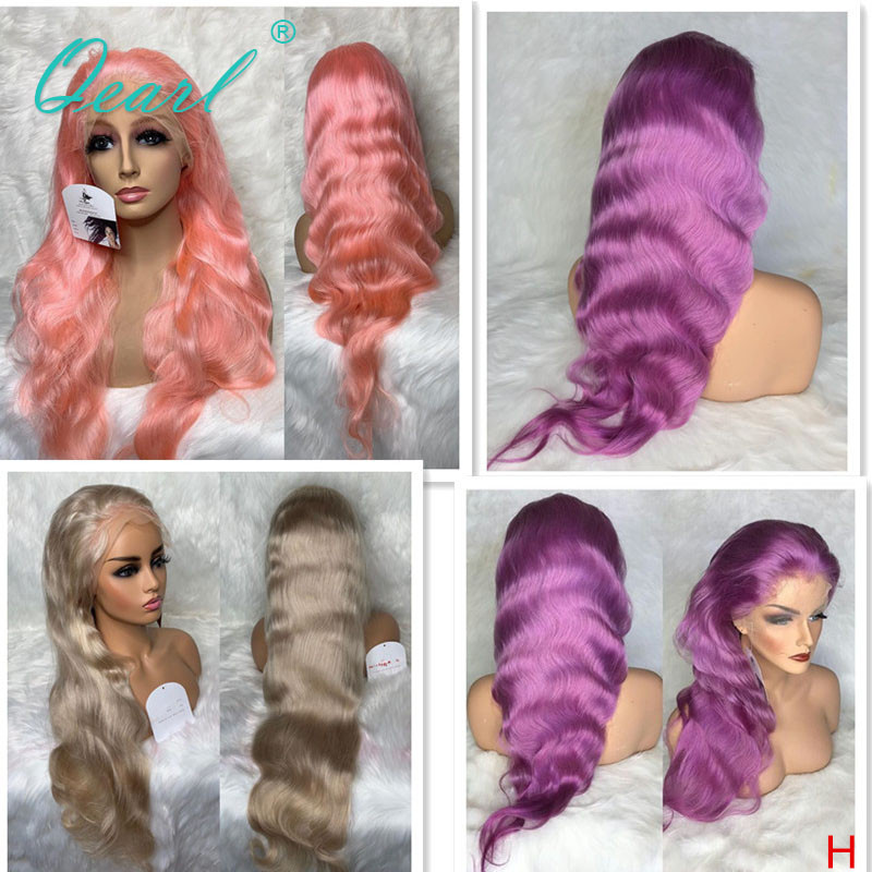 Light Pink Purple Color Body Wave Lace Front Human Hair Wig Platinum Blonde 13x4 Remy Hair 130% 150% Free Part Preplucked Qearl