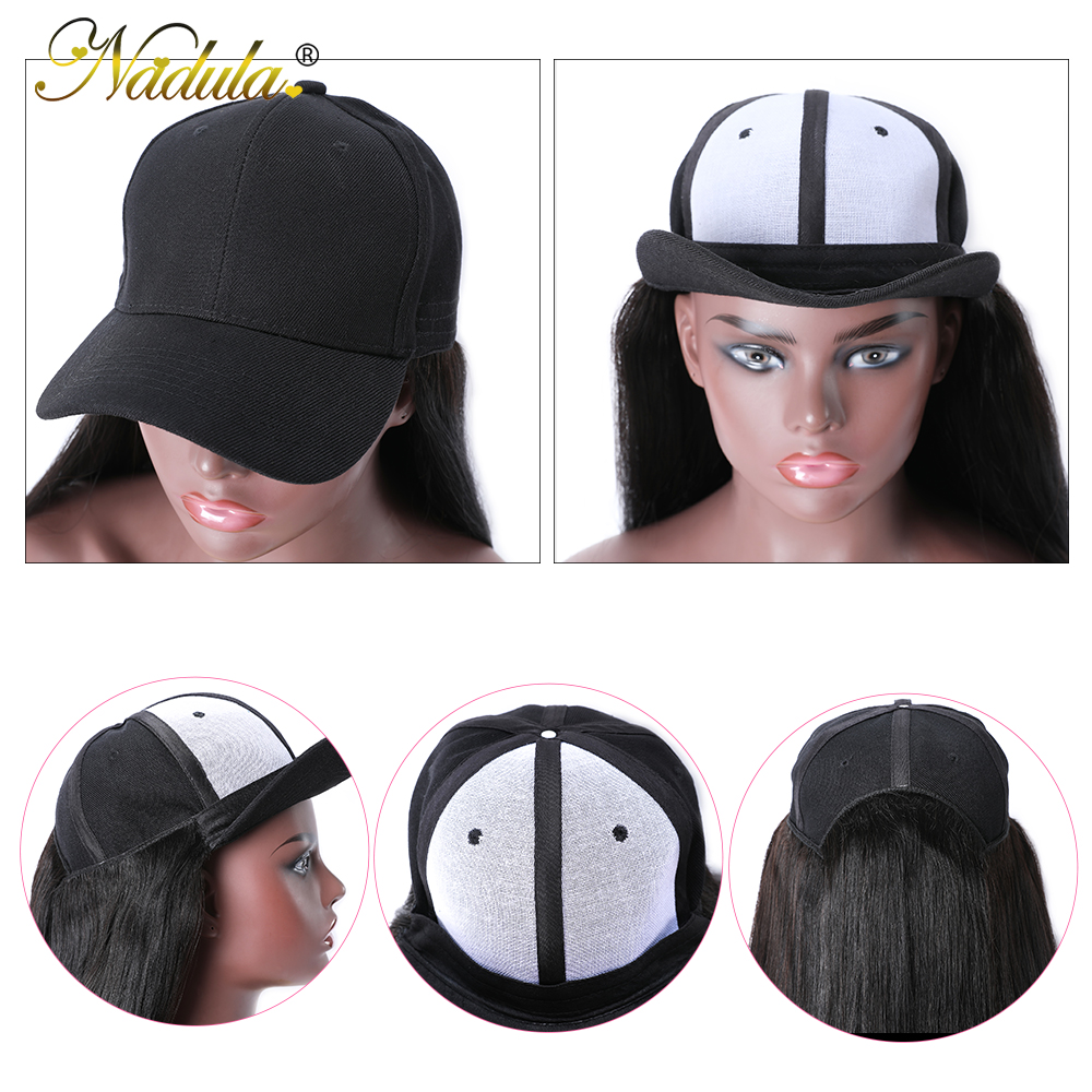 Nadula Straight Hat With Hair Wig  20inch Hat Wig Baseball Cap Wig Hat With Straight  Wigs 150% Density 6