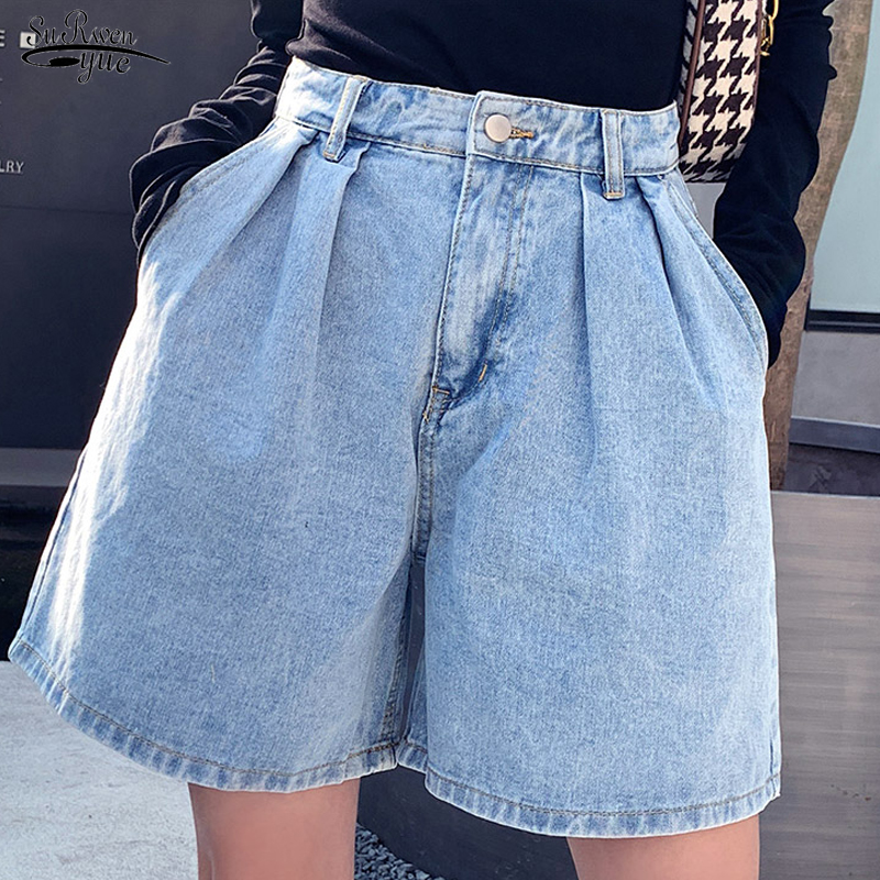 2020 Summer Shorts Women Vintage High Waist Blue Wide Leg Jeans Shorts Plus Size Women's Denim Shorts Ladies Short Femme 9001 50
