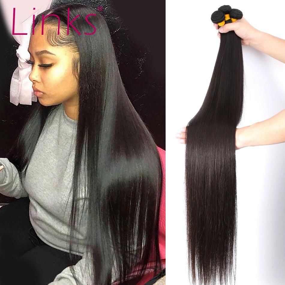 Links 8- 40 дюймов бразильские пряди волос, 1/3/4 прямые пряди, натуральный цвет 28 30 32 34 дюйма пряди Remy для наращивания волос