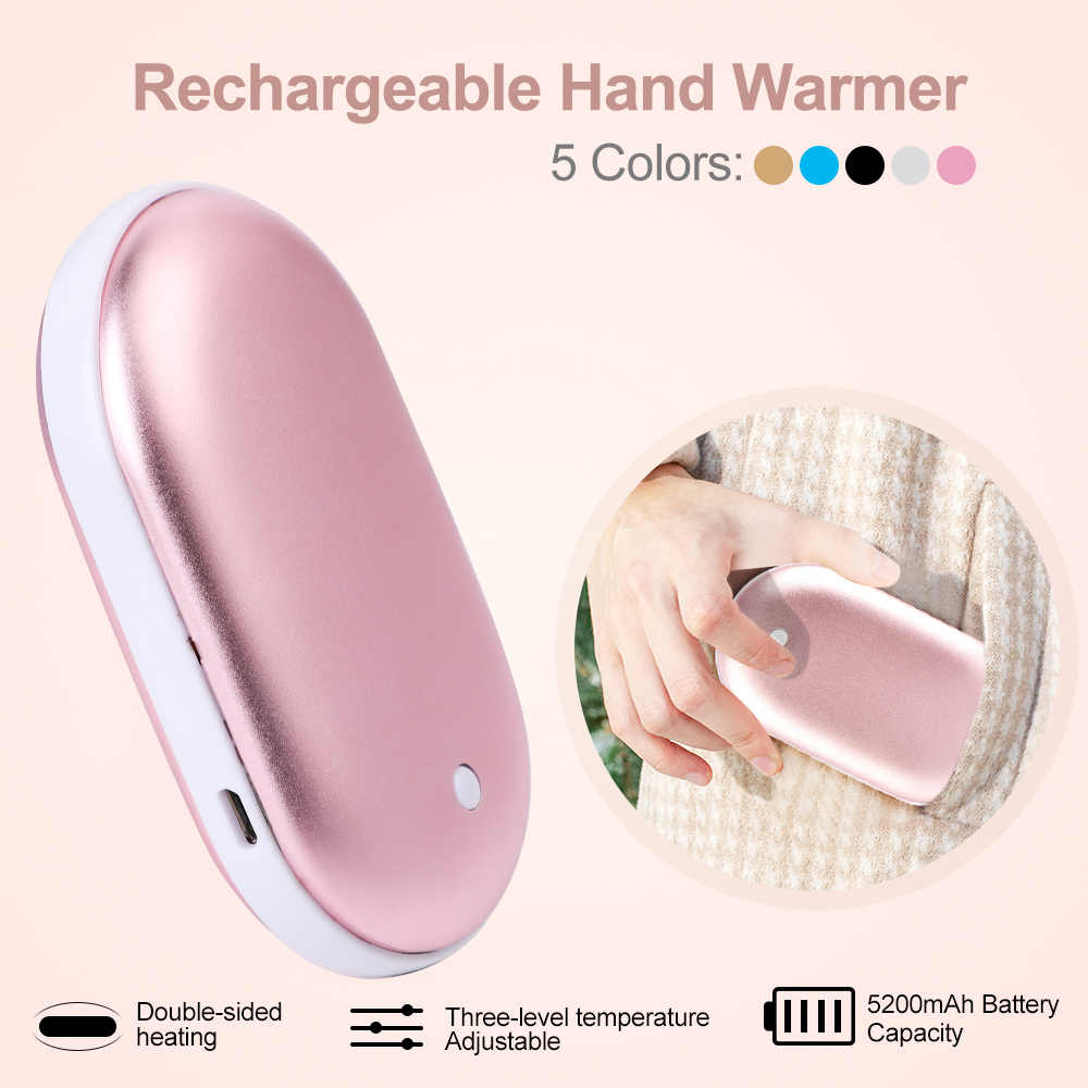 Mini Hand Warmer Rechargeable Portable 5200mAh USB Power Bank Phone Charger