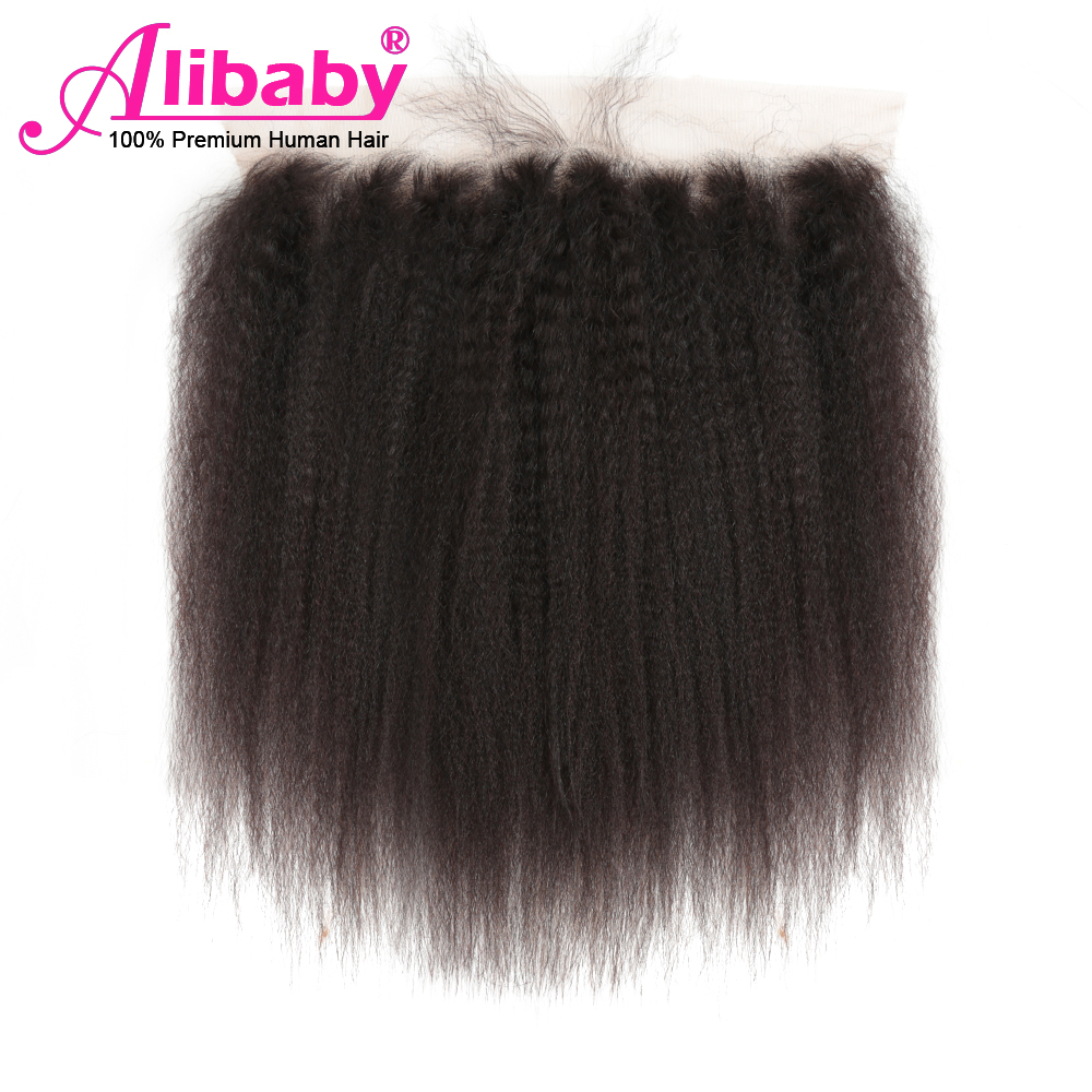 Alibaby Malaysian Hair 13×4 Swiss Lace Frontal Kinky Straight Hair Frontal Remy Natural Color 100% Human Hair Extension 8-20inch