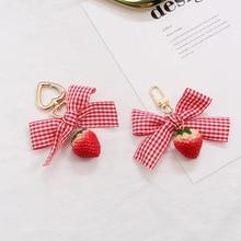 Strawberry Red Heart Keychain Keyring For Women Girl Jewelry Simulated Fruit Cute Car Key Holder Keyring Girl Key Chain недорого