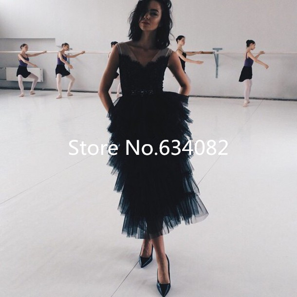 Tea Length Black Tulle Ruffles Prom For Party Gown 2018 Vestidos V Neck Formal For Events Special Occasions Bridesmaid Dresses