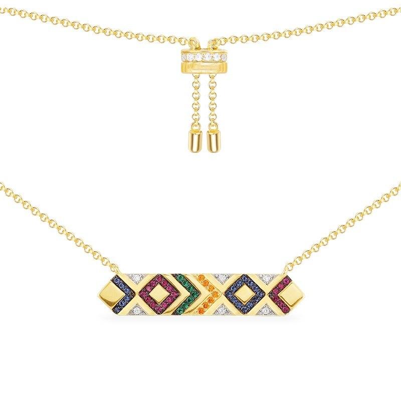 Nouveauté 925 argent Sterling or jaune couleur coloré zircone rayures tribu collier à breloques Mana bijoux accessoires mujer