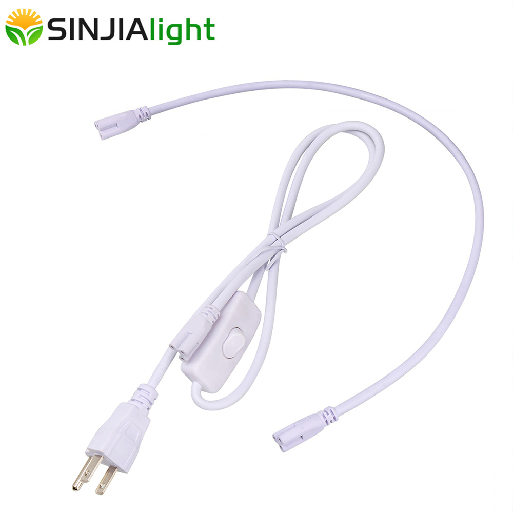 Power Cord Cable For T8 Tube LED Grow Light With On Off Switch 3Pin Integrated Tube Connector Extension Cable EU US Plug