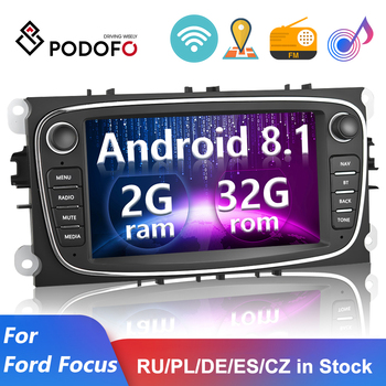 Podofo 2 Din Android 8.1 Car Multimedia Player Car Radio 7  GPS For Ford/Focus EXI MT 2 3 Mk2/Mk3/S-Max/Mondeo 9/Galaxy C-Max image
