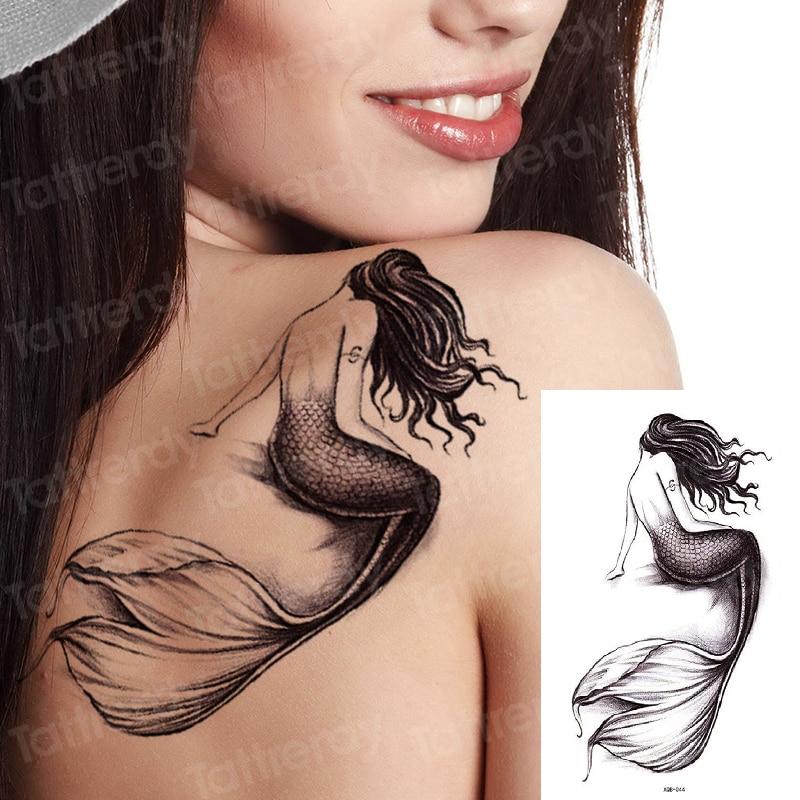 Temporary Tattoo Sticker Beauty Mermaid Shoulder Tattoo Lion Wolf Skull Snake Dragon Arm Tattoo Sketch Women Body Art Waterproof