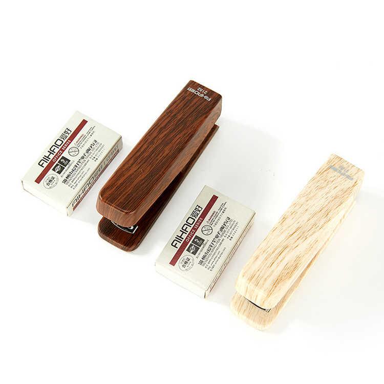 Kreatywny drewna zszywacz instrukcja proste szkolne materiały biurowe zszywacze z 1000 sztuk 10 # zszywki dostaw
