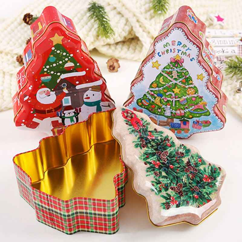 New Christmas Tree Shape Tin Sealed Jar Jewelry Biscuits Coin Candy Storage Box Container Case Headphones Organizer Box
